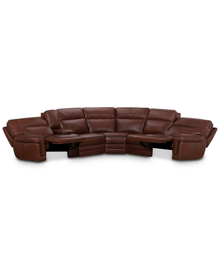 """Furniture - Myars 6-Pc. """"L"""" Shaped Leather Sectional Sofa With 2 Power Recliners, Power Headrests, And Console With USB Power Outlet, Created for Macy's"""