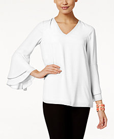 Alfani V-Neck Poet-Sleeve Top, Created for Macy's
