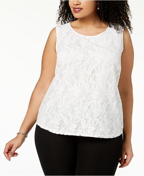 4cf82b32409 Kasper Plus Size Lace Top   Reviews - Tops - Women - Macy s