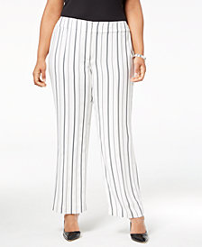 Nine West Plus Size Striped Wide-Leg Trousers