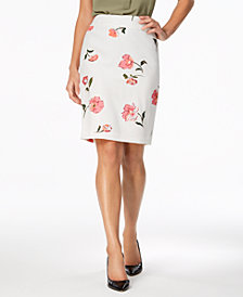 Nine West Floral-Print Pencil Skirt, Created for Macy's