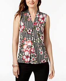 Nine West Printed Center-Pleat Top