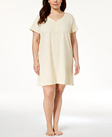 Charter Club Plus Size Picot-Trim Cotton Sleepshirt, Created for Macy's