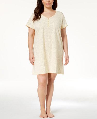 Charter Club Plus Size Picot-Trim Cotton Sleepshirt, Created for Macy's