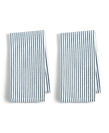 CLOSEOUT! 2-Pc. Pinstriped Navy Cotton Napkin Set, Created for Macy's