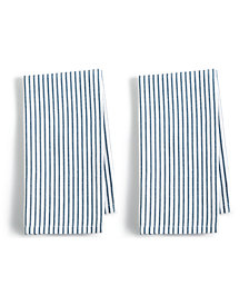Martha Stewart Collection 2-Pc. Pinstriped Navy Cotton Napkin Set, Created for Macy's