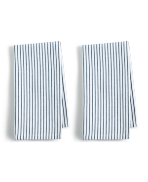 Closeout! Martha Stewart Collection 2-Pc. Pinstriped Navy Cotton Napkin Set, Created for Macy's