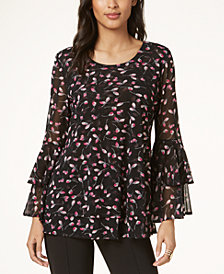Alfani Petite Double-Tiered Mesh Tunic, Created for Macy's