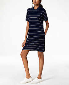 Lacoste Cotton Striped Polo Dress