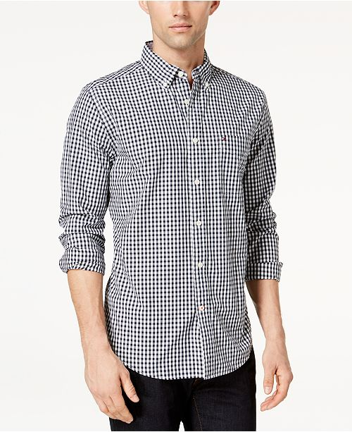 ... Tommy Hilfiger Men s Long-Sleeve Twain Gingham Check Classic Fit Shirt 6fbb776de