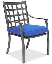 CLOSEOUT! Highland Blue Aluminum Outdoor Dining Chair with Sunbrella® Cushion, Created for Macy's