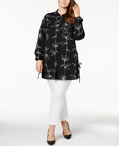 Alfani Plus Size Printed Side-Laced Tunic, Created for Macy's