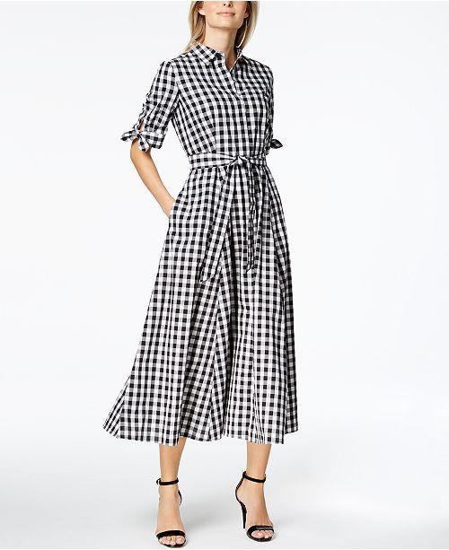 cd38307f92673 Calvin Klein Cotton Gingham-Print Midi Shirtdress   Reviews ...