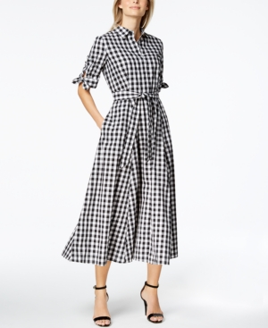 1950s Housewife Dress | 50s Day Dresses Calvin Klein Cotton Gingham-Print Midi Shirtdress $69.99 AT vintagedancer.com