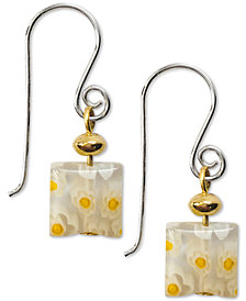 Jody Coyote Millefiori Square Glass Bead Drop Earrings in Sterling Silver & Gold-Plate