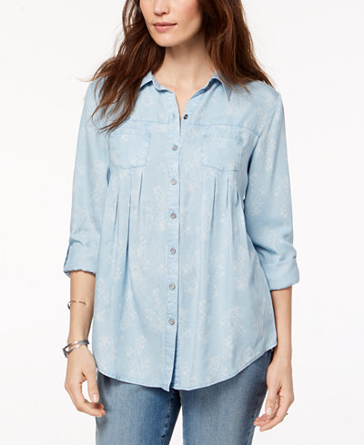 Style & Co Petite Pleated Button-Down Shirt, Created for Macy's