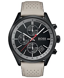 BOSS Hugo Boss Men's Chronograph Grand Prix Beige Perforated Leather Strap Watch 44mm