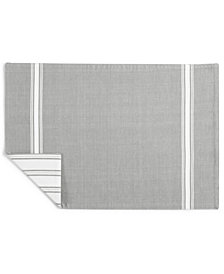 Martha Stewart Collection Striped Gray Cotton Placemat, Created for Macy's