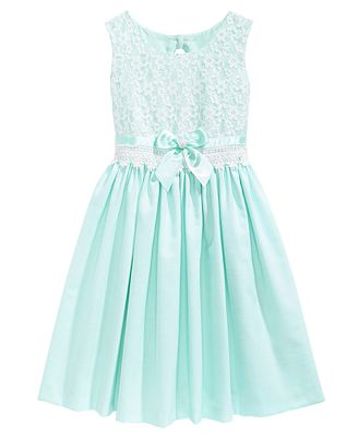 Bonnie Jean Lace Bodice Linen Dress, Big Girls