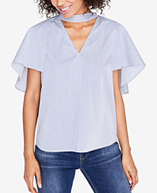 RACHEL Rachel Roy Striped Flutter-Sleeve Top, Created for Macy's