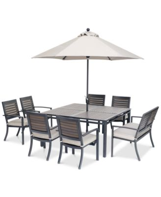 "Marlough II Outdoor Aluminum 8-Pc. Dining Set (62"" Square Dining Table, 6 Dining Chairs and 1 Dining Bench) with Sunbrella® Cushions, Created for Macy's"