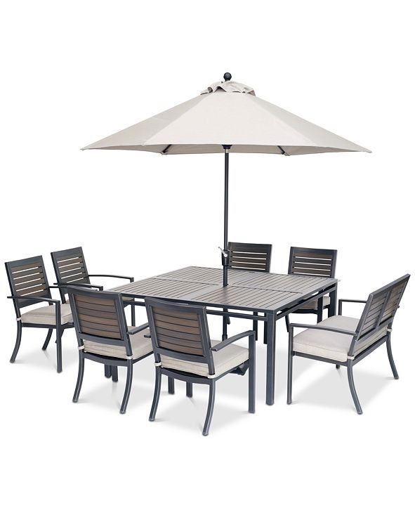 """Furniture Marlough II Outdoor Aluminum 8-Pc. Dining Set (62"""" Square Dining Table, 6 Dining Chairs and 1 Dining Bench) with Sunbrella® Cushions, Created for Macy's"""