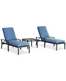 Harlough II 3-Pc. Outdoor Chaise Set (2 Chaise Lounges, and 1 End Table) with Sunbrella® Cushions, Created for Macy's