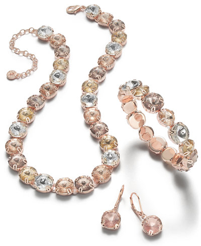 Anne Klein Rose Gold-Tone Multicolor Crystal Jewelry Separates