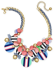kate spade new york Gold-Tone Stone, Leather & Ribbon Statement Necklace