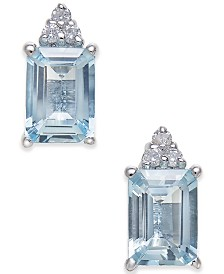 Aquamarine (2 ct. t.w.) & Diamond Accent Stud Earrings in 14k White Gold