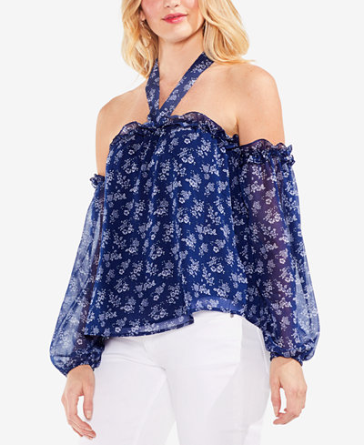 Vince Camuto Printed Off-The-Shoulder Peasant Top