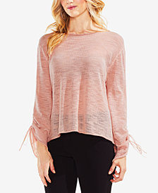 Vince Camuto Drawstring-Sleeve Pointelle Sweater