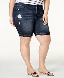 Celebrity Pink Plus Size Distressed Bermuda Shorts