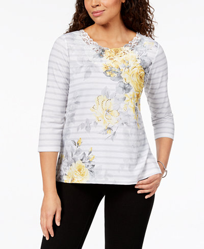 Alfred Dunner Charleston Embellished Lace-Trim Top