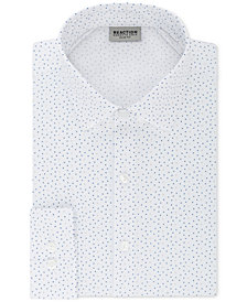 Kenneth Cole Reaction Men's Techni-Cole Slim-Fit Three-Way Stretch Performance White & Blue Drizzle Dress Shirt