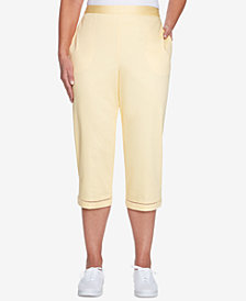 Alfred Dunner Petite Charleston Pull-On Lattice-Trim Capri Pants