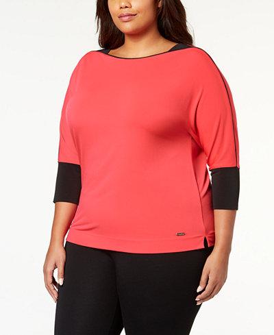 Calvin Klein Plus Size Dolman-Sleeve Top