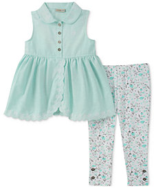 Calvin Klein 2-Pc. Tunic & Printed Leggings Set, Baby Girls