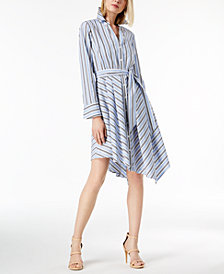 I.N.C. Petite Striped Asymmetrical-Hem Shirtdress, Created for Macy's