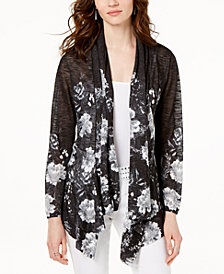 I.N.C. Printed Draped Cardigan, Created for Macy's