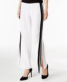 I.N.C. Petite Racing-Stripe Wide-Leg Pants, Created for Macy's
