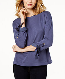 I.N.C. Tie-Cuff Drop-Shoulder Sweater, Created for Macy's