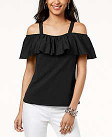 I.N.C. Ruffled Off-The-Shoulder Top, Created for Macy's
