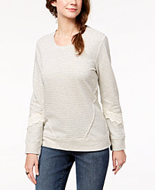 Style & Co Crochet-Trim Sweatshirt, Created for Macy's
