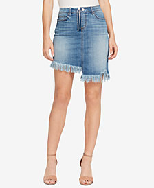 WILLIAM RAST Frayed Asymmetrical Denim Skirt