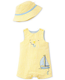 Little Me 2-Pc. Sailboat Cotton Romper & Hat Set, Baby Boys