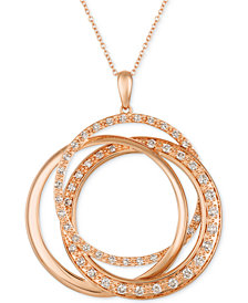 "Le Vian Strawberry & Nude™ Diamond Interlocking Rings 18"" Pendant Necklace (1 ct. t.w.) in 14k Rose Gold"