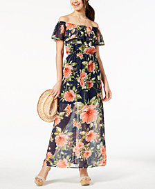 Crystal Doll Juniors' Printed Off-The-Shoulder Maxi Dress