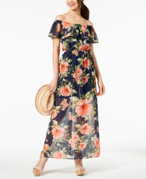 Crystal Doll Juniors Printed OffTheShoulder Maxi Dress