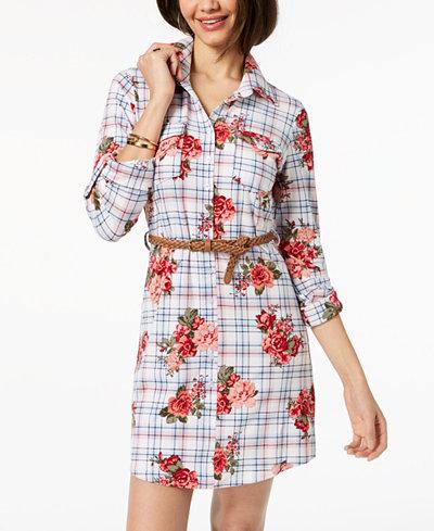 Ultra Flirt Juniors' Belted Printed Shirtdress